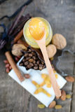 Wooden spoon with honey Royalty Free Stock Photos