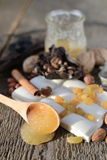 Wooden spoon with honey Stock Images