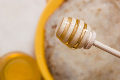 Wooden spoon for honey Stock Photography