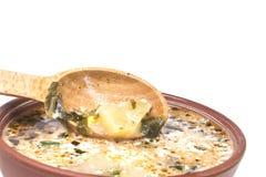 Wooden spoon in the hot green borscht Royalty Free Stock Photos