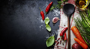 Wooden spoon and ingredients Royalty Free Stock Image