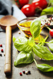 Wooden spoon and ingredients on old background Stock Images