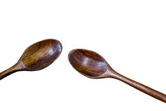 Wooden Spoon isolated on white background. Spoon wood closeup isolated spatula nobody stock photo
