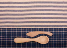 Wooden spoon and knife Stock Photos