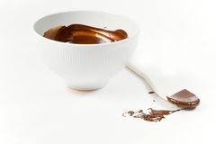 Wooden spoon and melted chocolate. The picture of the wooden spoon just used top stir the melted dark chocolate royalty free stock images