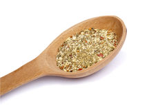 Wooden spoon with mixture of dry spices Stock Photo
