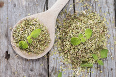 Wooden Spoon and Oregano Stock Photo