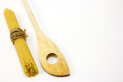 Wooden spoon and pasta royalty free stock image