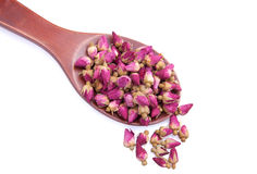 Wooden spoon with pink dried roses. On white background Royalty Free Stock Images