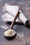 Wooden spoon with rice Stock Photography