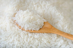 Wooden spoon with rice Royalty Free Stock Image