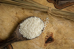 Wooden Spoon rice, wood floors, brown, jasmine rice, surface. Royalty Free Stock Image