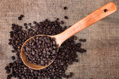 Wooden spoon on sacking and many coffee beans. Royalty Free Stock Photography