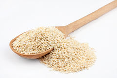 Wooden spoon with sesame seeds Stock Image