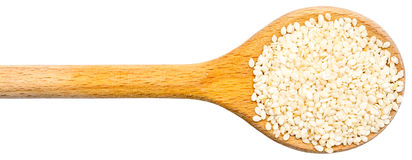 Wooden Spoon With Sesame Seeds Royalty Free Stock Images