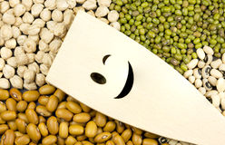 Wooden spoon with smileing face shape carrved on legumes Royalty Free Stock Photos