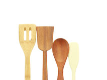 Wooden spoon. Spatula, fork on a white background Stock Image