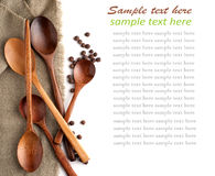 Wooden Spoon. S and black pepper on a linen napkin and sample text Stock Photos