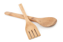 Wooden spoon and stirrer. On white background royalty free stock photo