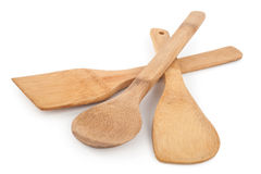 Wooden spoon and stirrers. On white background royalty free stock images