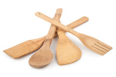 Wooden spoon and stirrers. On white background royalty free stock photo