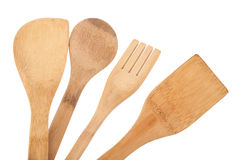Wooden spoon and stirrers. On white background stock photography