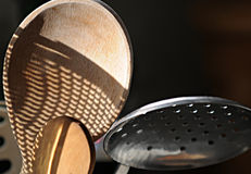 Wooden Spoon and Strainer Royalty Free Stock Image