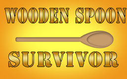 Wooden spoon survivor sign. Royalty Free Stock Images