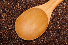 Wooden spoon on Thai Red Cargo rice Royalty Free Stock Photos