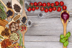 Wooden spoon and tomato Stock Image