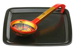 Wooden spoon on a tray Royalty Free Stock Images