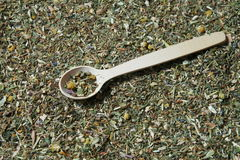 Wooden spoon and various herbs in a herbalist Royalty Free Stock Photography