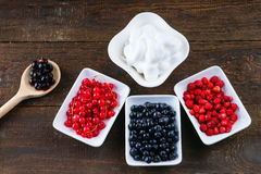 Wooden spoon, whipped cream and berry fruits in dishes Royalty Free Stock Photography