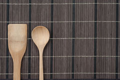 Wooden spoon on wood texture. Of dining table from top view Royalty Free Stock Photos
