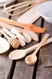 Wooden spoon on wooden board Stock Photos