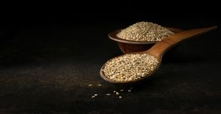 A wooden spoonful of sesame seeds stock image