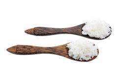 Wooden Spoons with Boiled Rice Stock Image