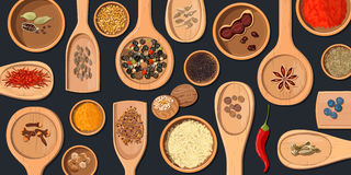 Wooden spoons and bowls with Realistic popular culinary spices royalty free illustration