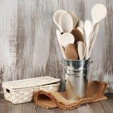 Wooden spoons in bucket Stock Image