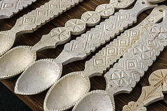 Wooden spoons carved Stock Photos