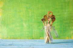 Wooden spoons, cooking concept Royalty Free Stock Photos