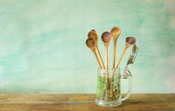 Wooden spoons cooking concept Royalty Free Stock Images