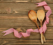 Wooden spoons decorated with ribbon Royalty Free Stock Image