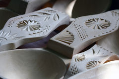 Wooden spoons detail. Romanian traditional models wooden spoons Stock Image