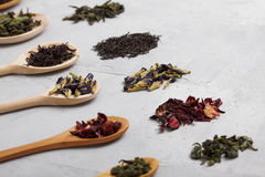 Wooden spoons with different tea leaves on grey concrete backgro Royalty Free Stock Photos
