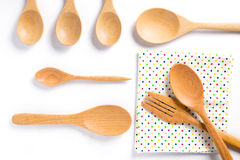 Wooden spoons and fork on white background Royalty Free Stock Image