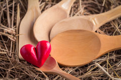 Wooden spoons with heart object Stock Image