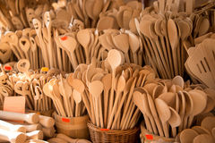 Wooden spoons. With the image of Valentine Stock Photos