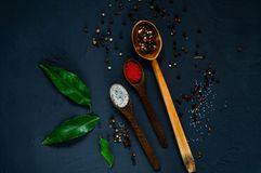 Wooden spoons and ingredients on a dark background. Concept of spicy food or cooking, top view, empty space for text stock photos