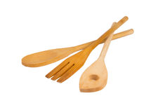 Wooden spoons isolated on white background. Kitchen utensil - traditional wooden spoons isolated on white background Stock Photos